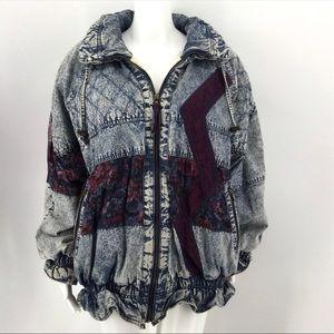 VTG ROCK CREEK Coat L Acid Wash Denim Lace Retro